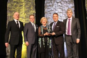 Home Instead Senior Care representatives were on hand to receive the prestigious Outstanding Corporate Citizen Award at the 25th annual Canadian Franchise Association National Convention in Ottawa. From left are: Rainer Mueller, Mount Seven Group; Roger Seier, Home Instead; Phyllis Hegstrom, Home Instead; Rod Roberts, Home Instead; and Don Leslie, A&W Food Services of Canada.