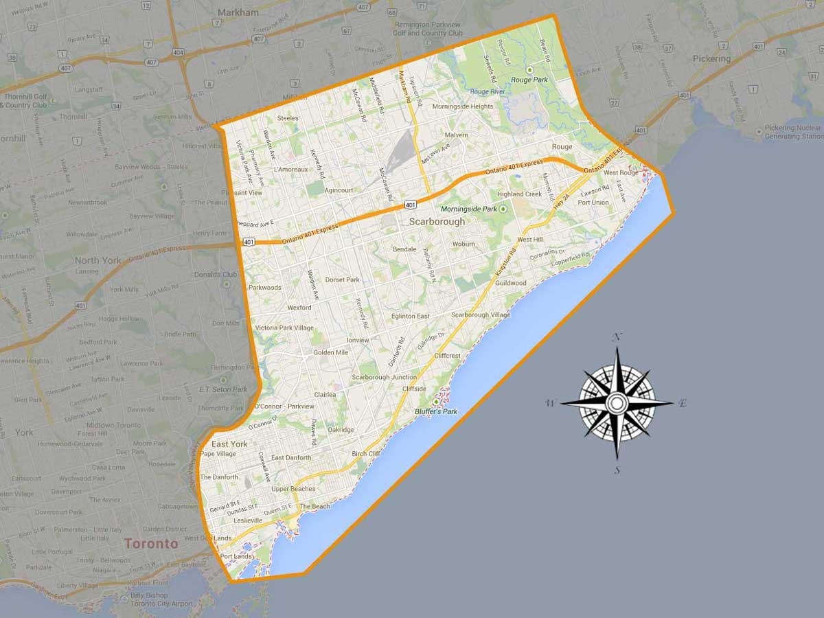 Senior Care East Toronto Area Map Served
